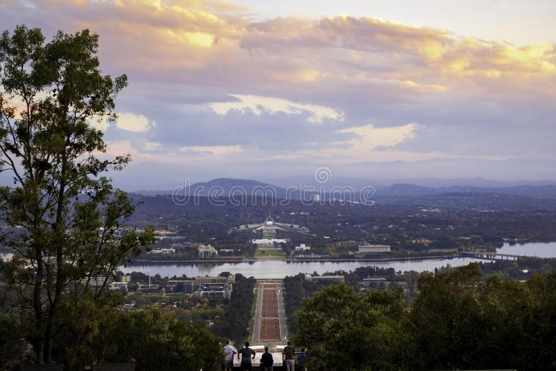 Sunset view from Mount Ainslie, Canberra stock photography