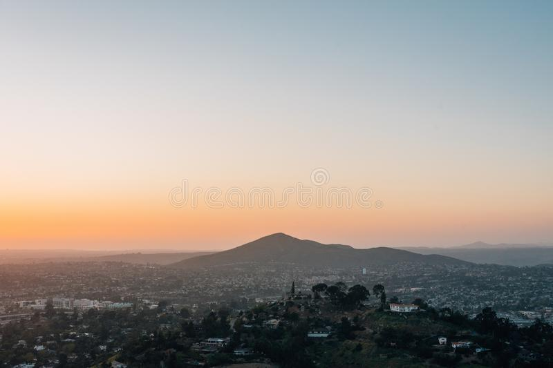 Sunset view from Mount Helix, in La Mesa, near San Diego, California.  stock photo