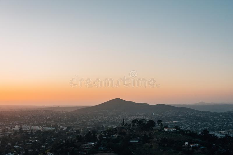 Sunset view from Mount Helix, in La Mesa, near San Diego, California.  stock photos