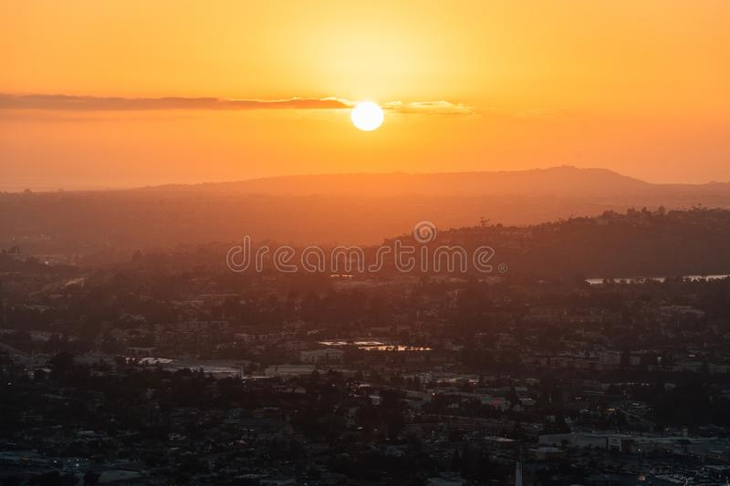 Sunset view from Mount Helix, in La Mesa, near San Diego, California.  royalty free stock photography