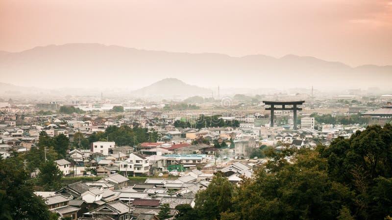 Sunset view of Miwa town, Sakurai, Nara, Japan. Sunset view and mountain of Miwa town, Sakurai, Nara, Japan royalty free stock image