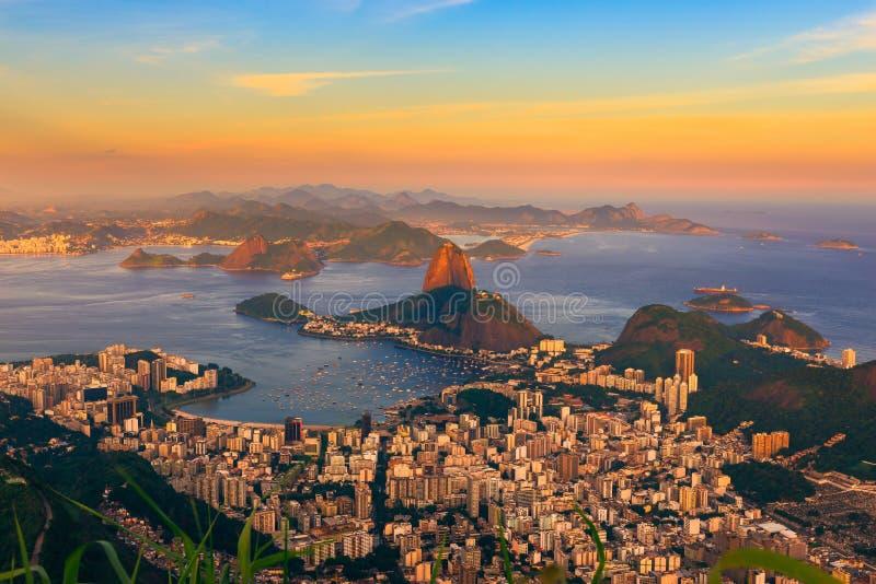 Sunset view of mountain Sugar Loaf and Botafogo in Rio de Janeiro stock photos