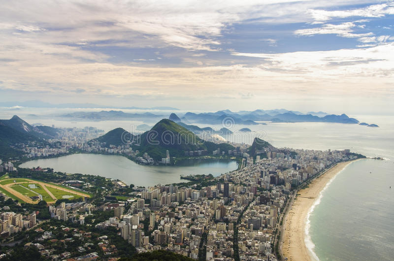Sunset view of mountain Sugar Loaf and Botafogo in Rio de Janeiro. Brazil stock photography