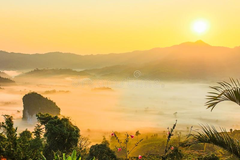 Sunset View of Mountains royalty free stock photos