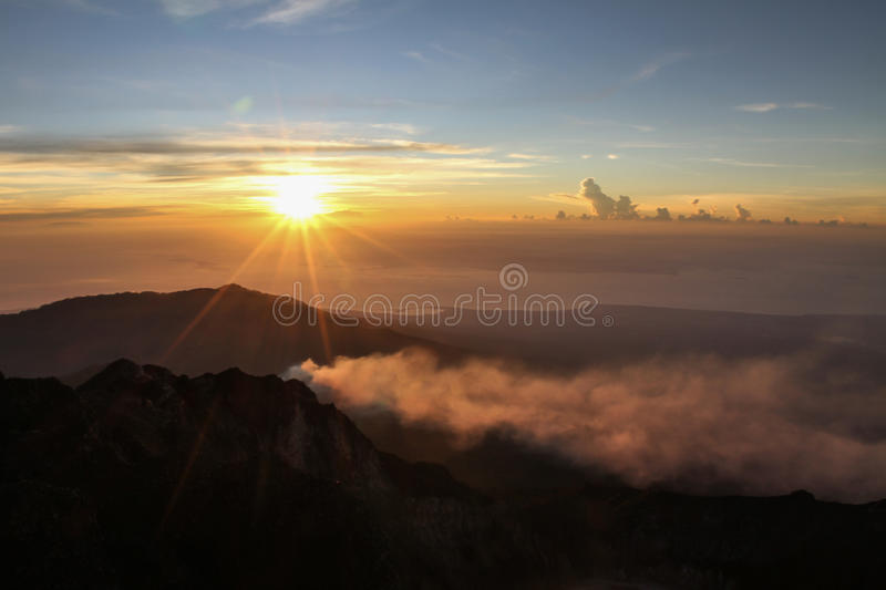 Sunset View From Mt.Rinjani-Lombok,Indonesia,Asia stock photo