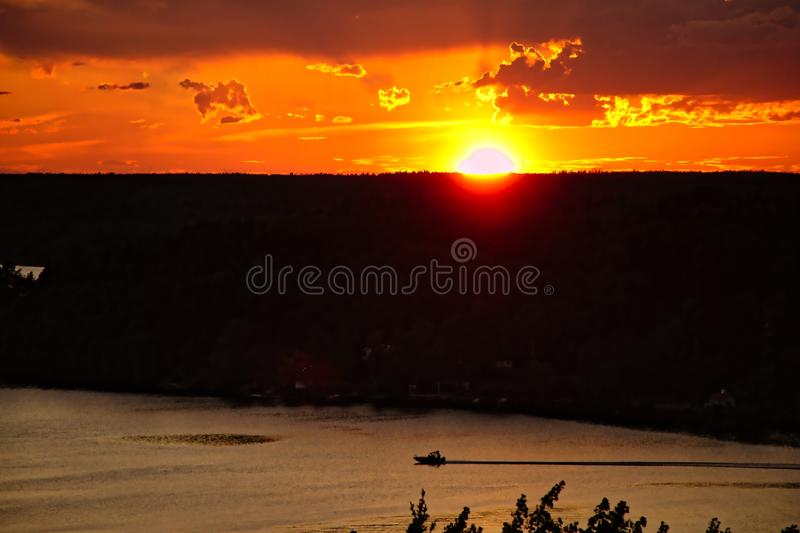 Sunset with view over lake stock photo