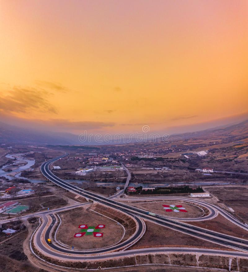 Sunset view over the motorway in Europe... royalty free stock photos