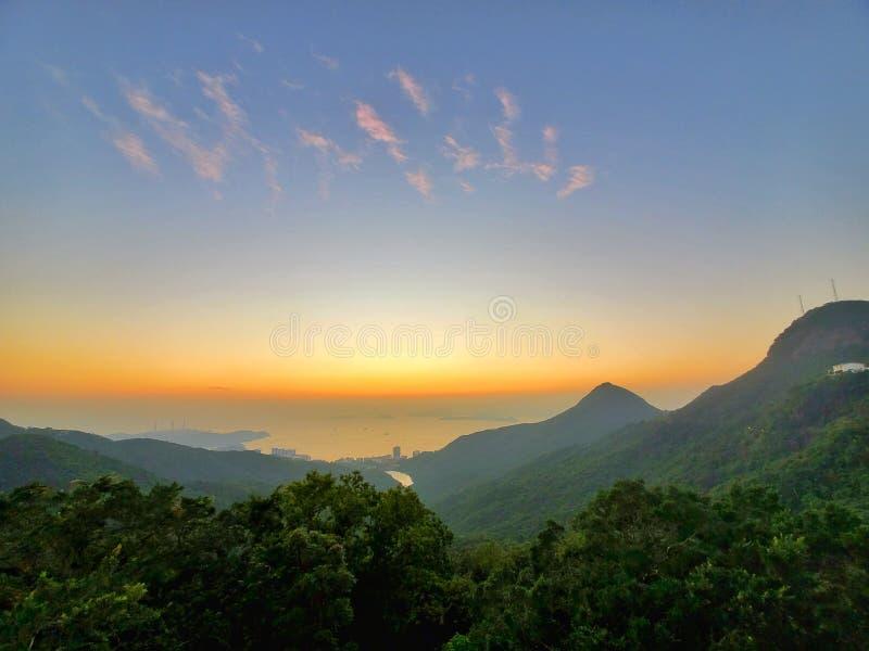 Sunset view The Peak Hong Kong fantastic photo royalty free stock photos