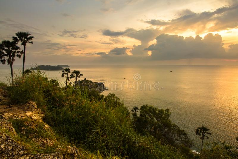 Sunset view point at Phrom Thep Cape in Phuket, Thailand royalty free stock photos