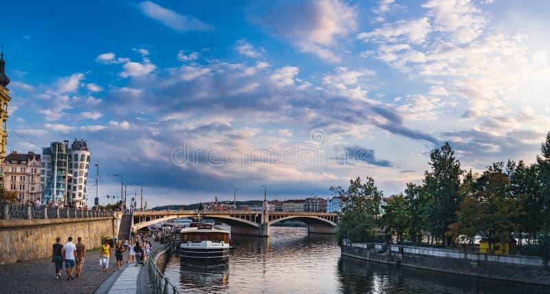 Sunset view of Prague quay, Czech Republic stock photo
