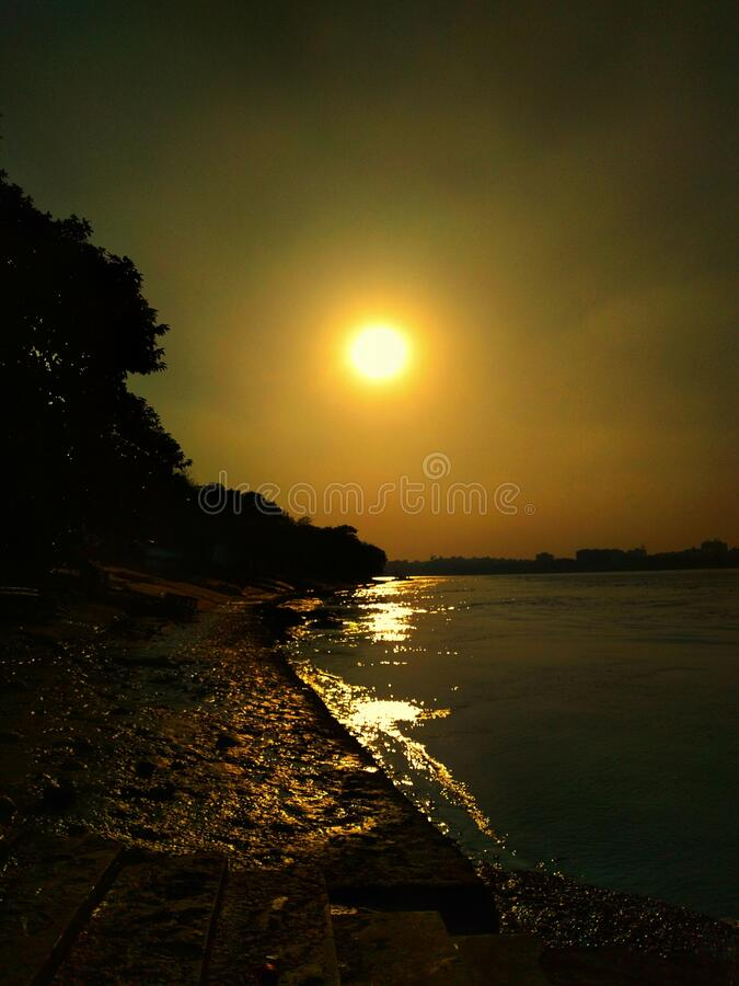 Sunset view from river side stock images