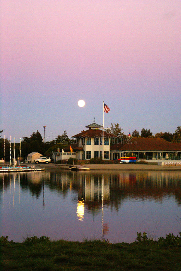 Sunset view of Shoreline Park Lake in evenings, Mountain View, California, USA. Popular destination for residents and visitors with recreation facilities royalty free stock photography