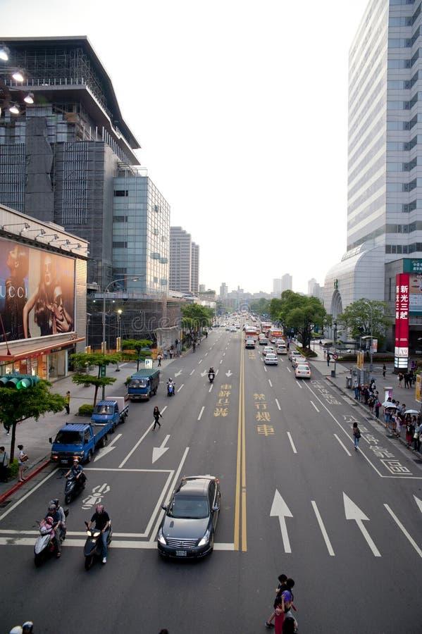 The sunset view of taipei street view royalty free stock photos