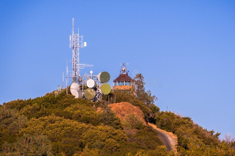 Sunset view of telecommunications antennas close to Mt Diablo summit; royalty free stock photos