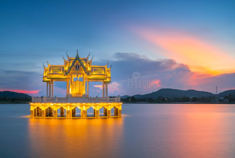 Sunset view of Thai pavilion in Khao Tao reservoir, Hua hin, Thailand. Sunset view of Thai pavilion in Khao Tao reservoir, Hua hin, Thailand royalty free stock photo