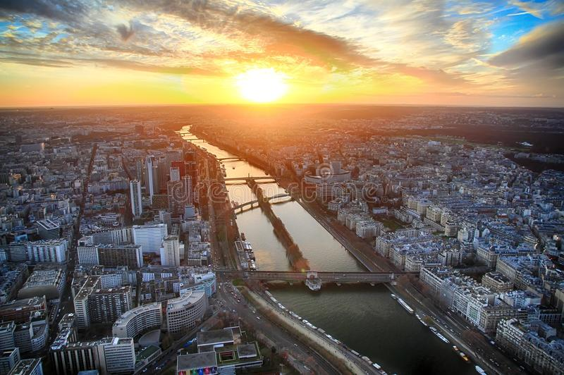 Download Sunset View From Thrid Floor Of Eiffel Tower. Stock Image - Image of french, lighthouse: 104265421