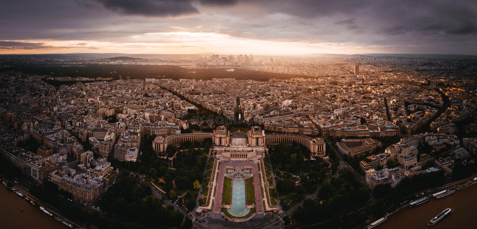 Sunset view to La Denfense. In Paris, France stock photos