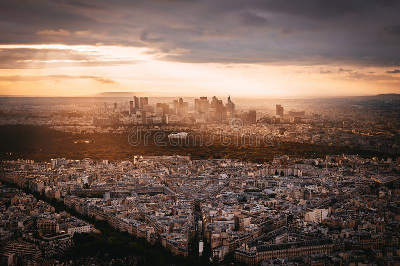 Sunset view to La Denfense. In Paris, France royalty free stock image