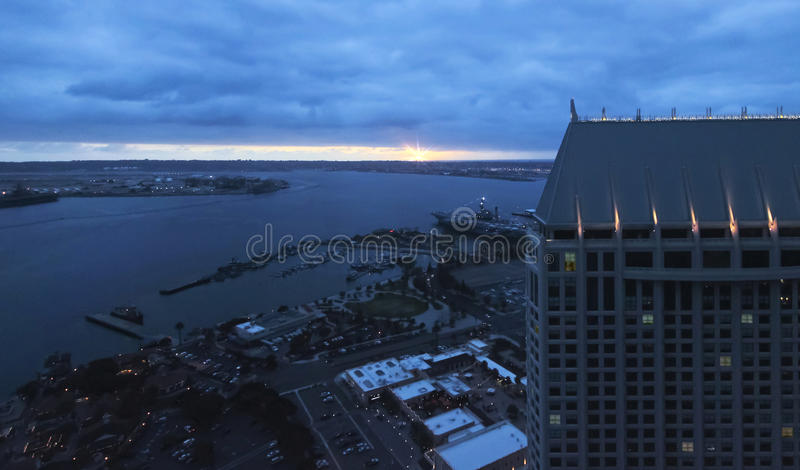 A Sunset View From The Top Of The Hyatt, San Diego Stock ...