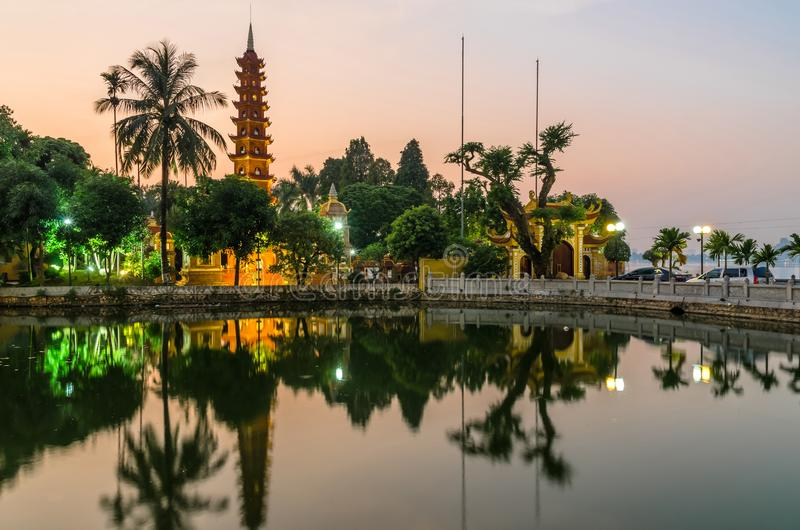 Sunset view of Tran Quoc Pagoda. It is the oldest Buddhist temple in Hanoi and it located on a small peninsula on the East side of. Hanoi,Vietname - November 1 stock image