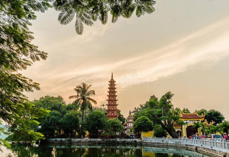 Sunset view of Tran Quoc Pagoda. It is the oldest Buddhist temple in Hanoi and it located on a small peninsula on the East side of. Hanoi,Vietname - November 1 stock photography