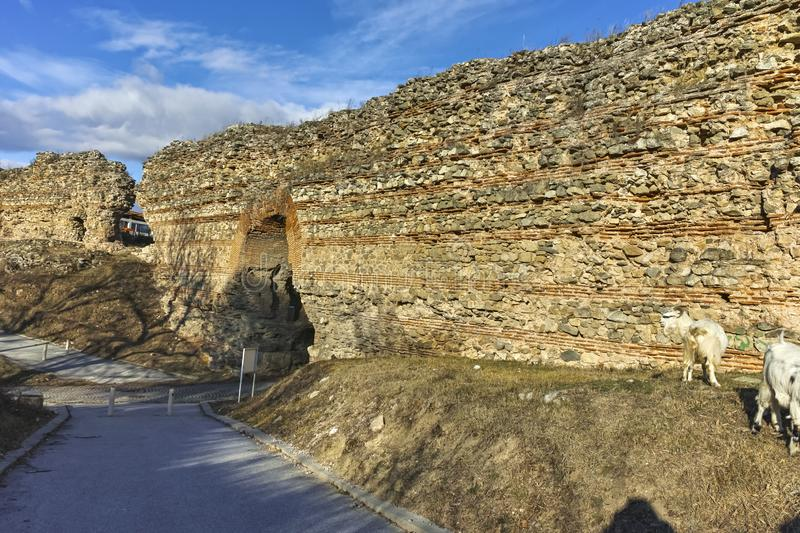 The Western gate of Diocletianopolis Roman city wall, Bulgaria. Sunset view of The Western gate of Diocletianopolis Roman city wall, town of Hisarya, Plovdiv royalty free stock photography