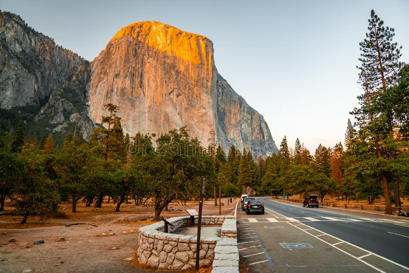 Sunset view of the Yosemite National park parking royalty free stock images