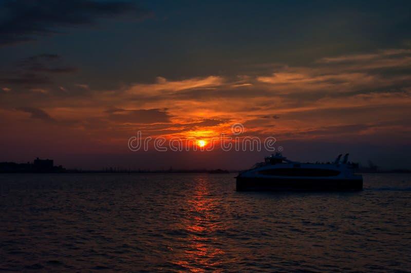 Sunset viewed from American Veterans Memorial Pier. stock photo