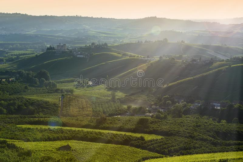 Sunset views in the Langhe Unesco heritage royalty free stock photography