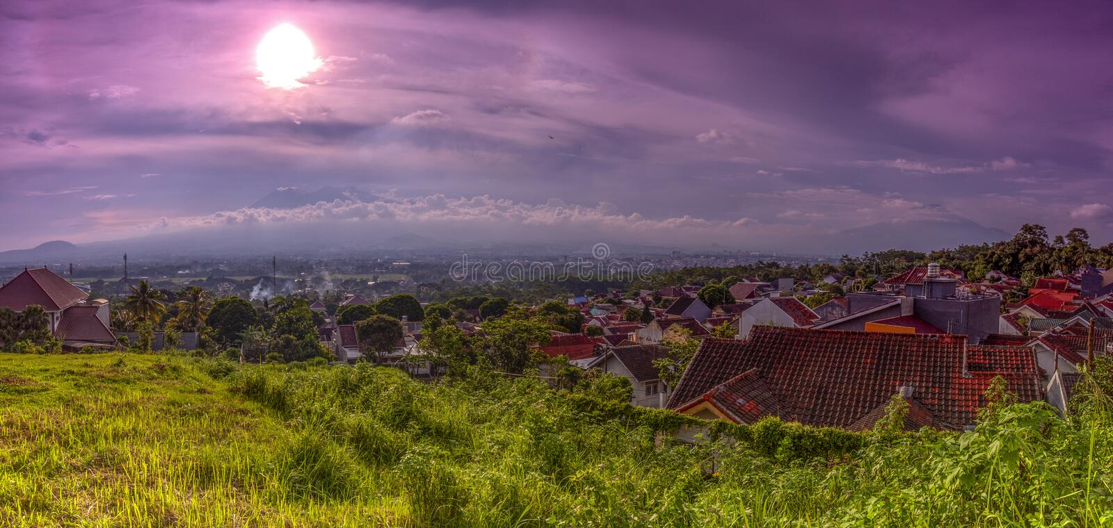 Sunset with views of Malang Java city of Indonesia. Sunset Colorful sky with views of Malang Java city of Indonesia stock image