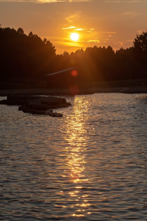 Sunset views at national whitewater center in north carolina stock photo
