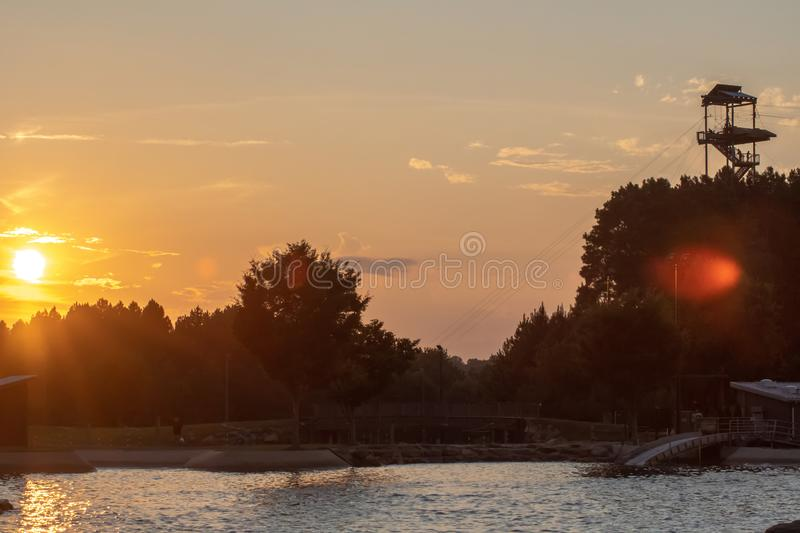Sunset views at national whitewater center in north carolina stock photography