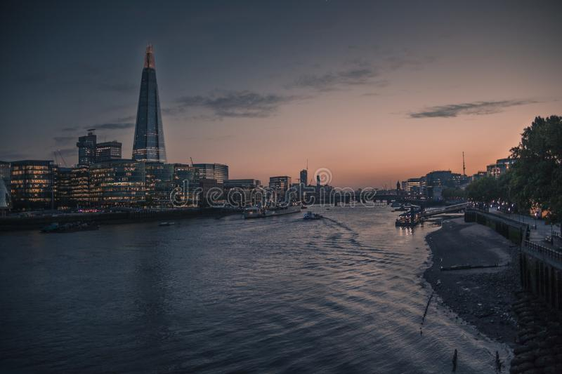 Sunset views of south bank in London from the tower bridge. In spring stock images