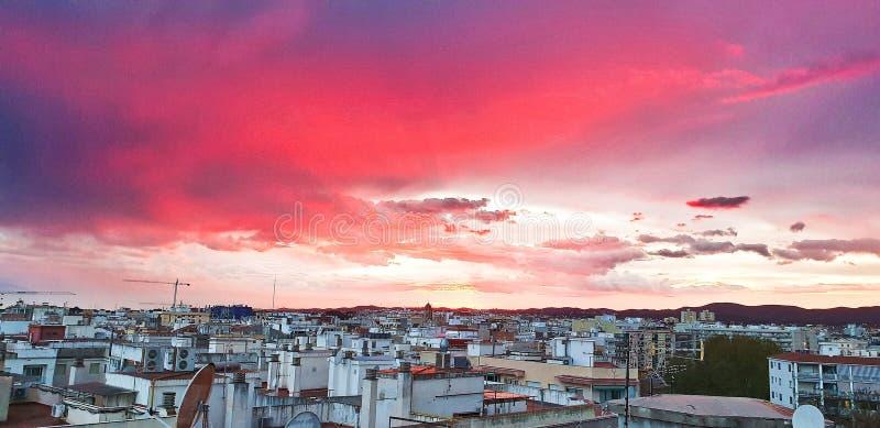 Sunset in Vilanova i la Geltrú, Catalonia stock photo