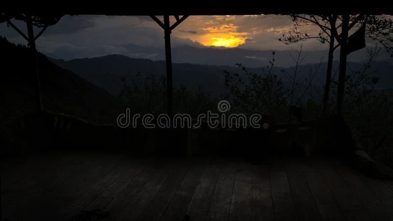 Sunset at the Vilcabamba Valley from a wild balcony. Sun is hiding behind the mountains. Loja, Ecuador. south America stock photos