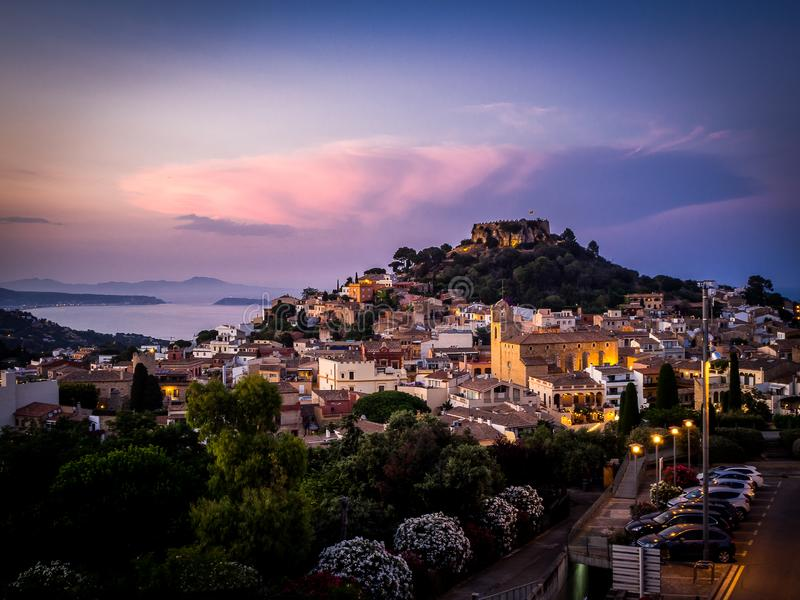 Sunset in the village of Begur stock photography