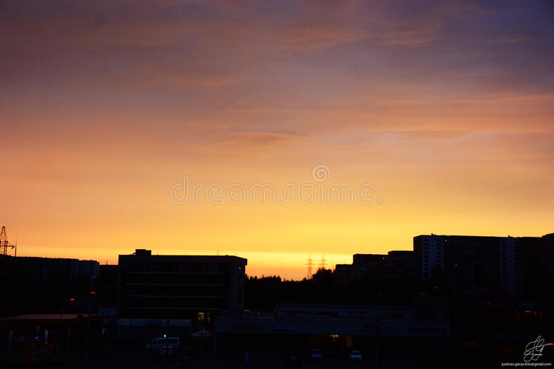 Sunset in Vilnius stock photo