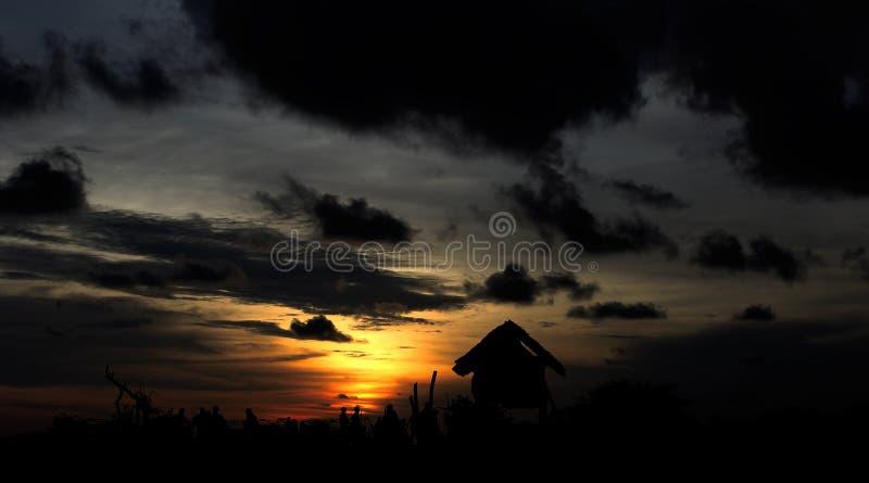 Sunset. Visitors who were enjoying the sunset royalty free stock image