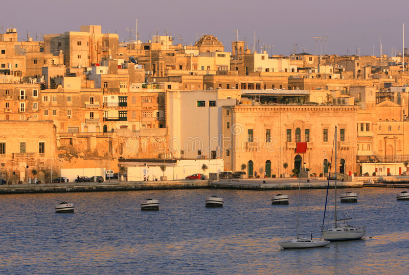 sunset vittoriosa malta obraz stock