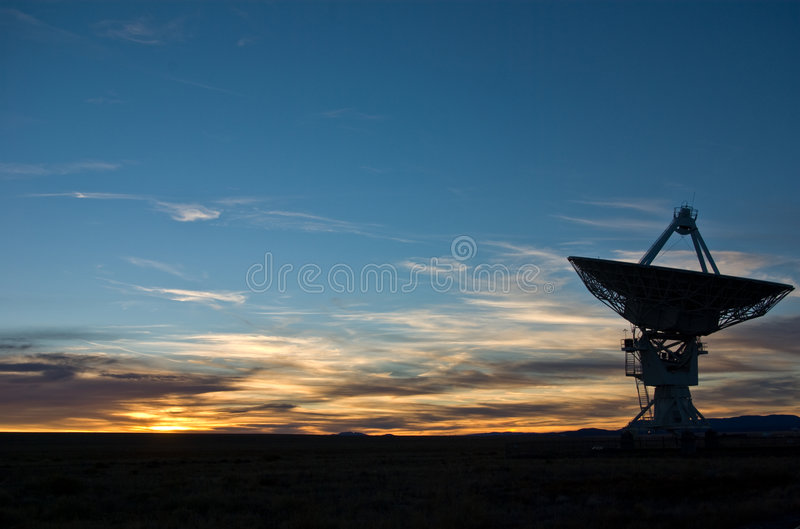 Sunset at VLA New Mexico. Sunset at VLA (very large telescope) New Mexico royalty free stock images