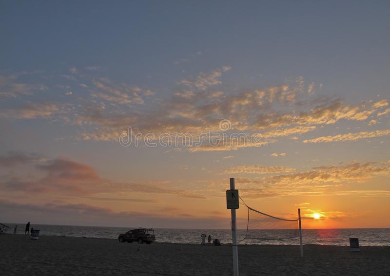 Sunset and Volleyball Net, Torrance Beach, Los Angeles, California royalty free stock image