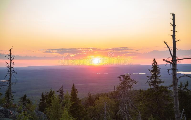 Sunset on Vottovaara mount. Republic of Karelia, Russia royalty free stock photos