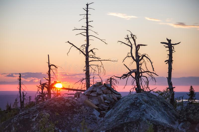 Sunset on Vottovaara mount. Republic of Karelia, Russia stock image
