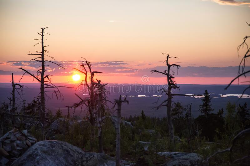Sunset on Vottovaara mount. Republic of Karelia, Russia royalty free stock image