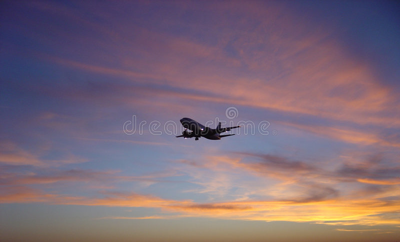 Download Sunset VS. Airplane stock photo. Image of plane, night, endless - 34856