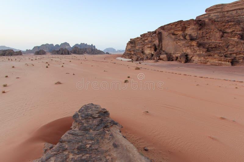 Sunset in the Wadi Rum desert, Jordan royalty free stock photography