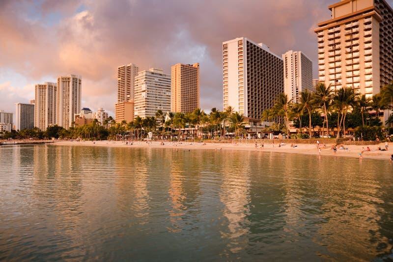Download Sunset On Waikiki Beach Royalty Free Stock Photos - Image: 12370128
