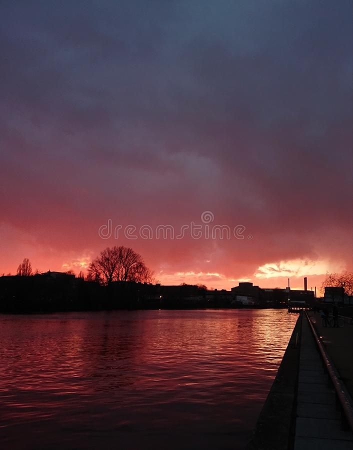 Sunset on a walk in Berlin royalty free stock photos