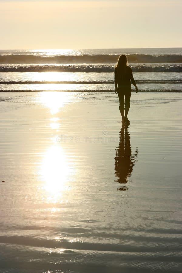 Sunset walking royalty free stock photography