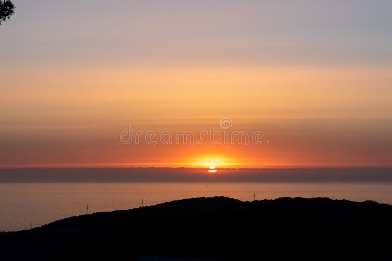 Sunset during walking in Nature royalty free stock photo
